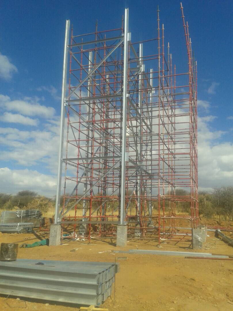Starting to erect the stand of the tower.